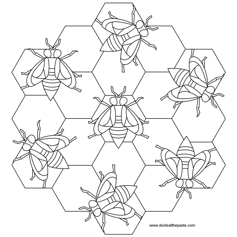 Bee mandala to print and color- also available in transparent PNG