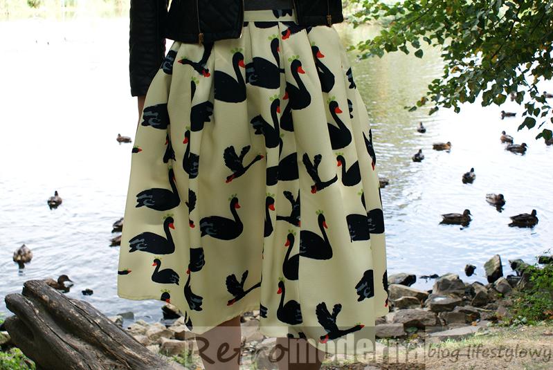 Swan Print Midi Skirt Romwe