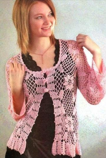 Blusa Rosa a Crochet