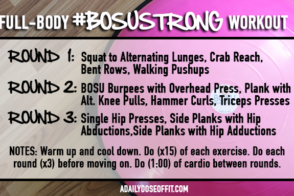 BOSU workout, pink BOSU, fit approach, sweat pink, fitfluential, total body workout, strength training