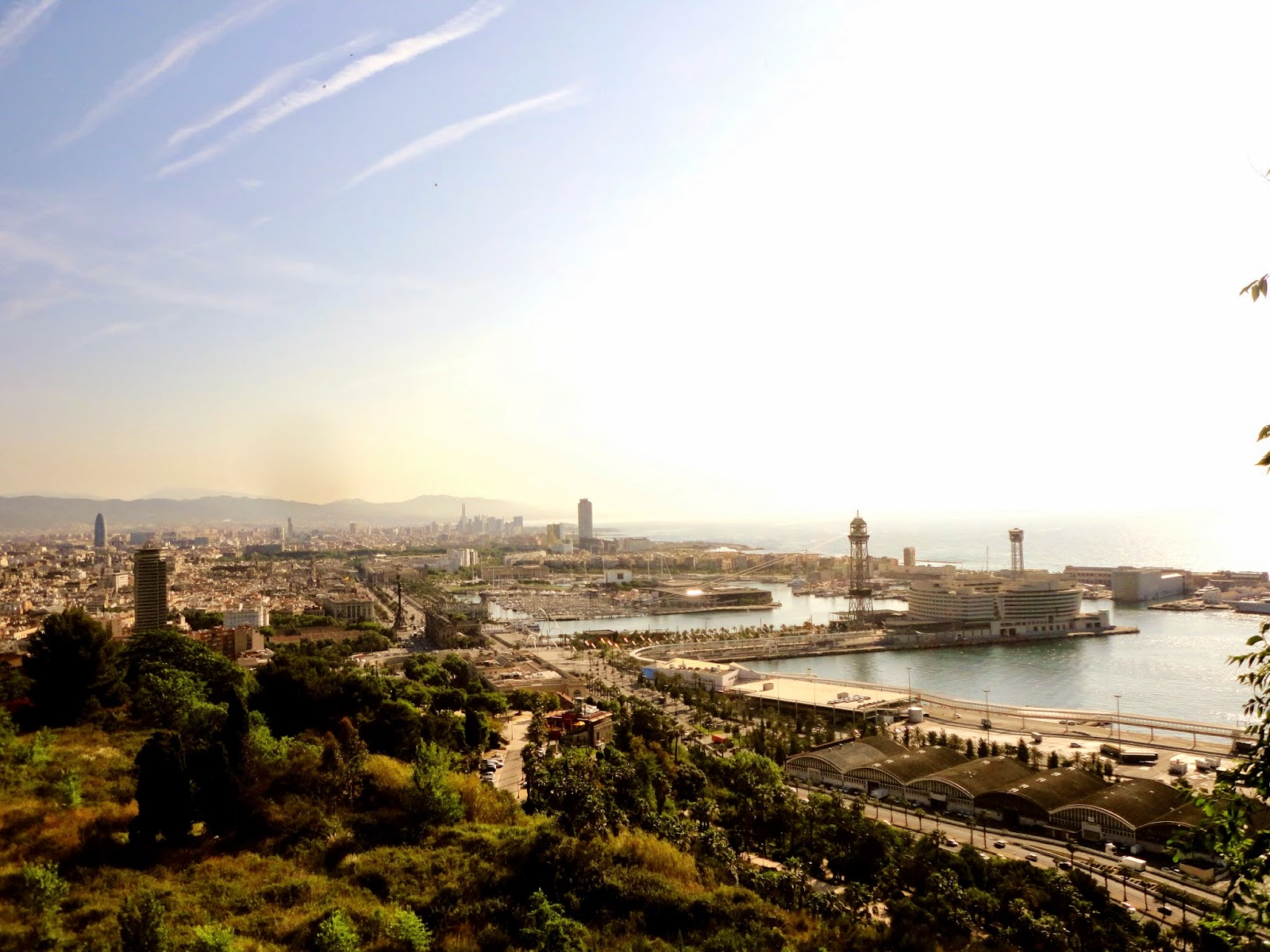 City view of Barcelona from Montjuic hilltop