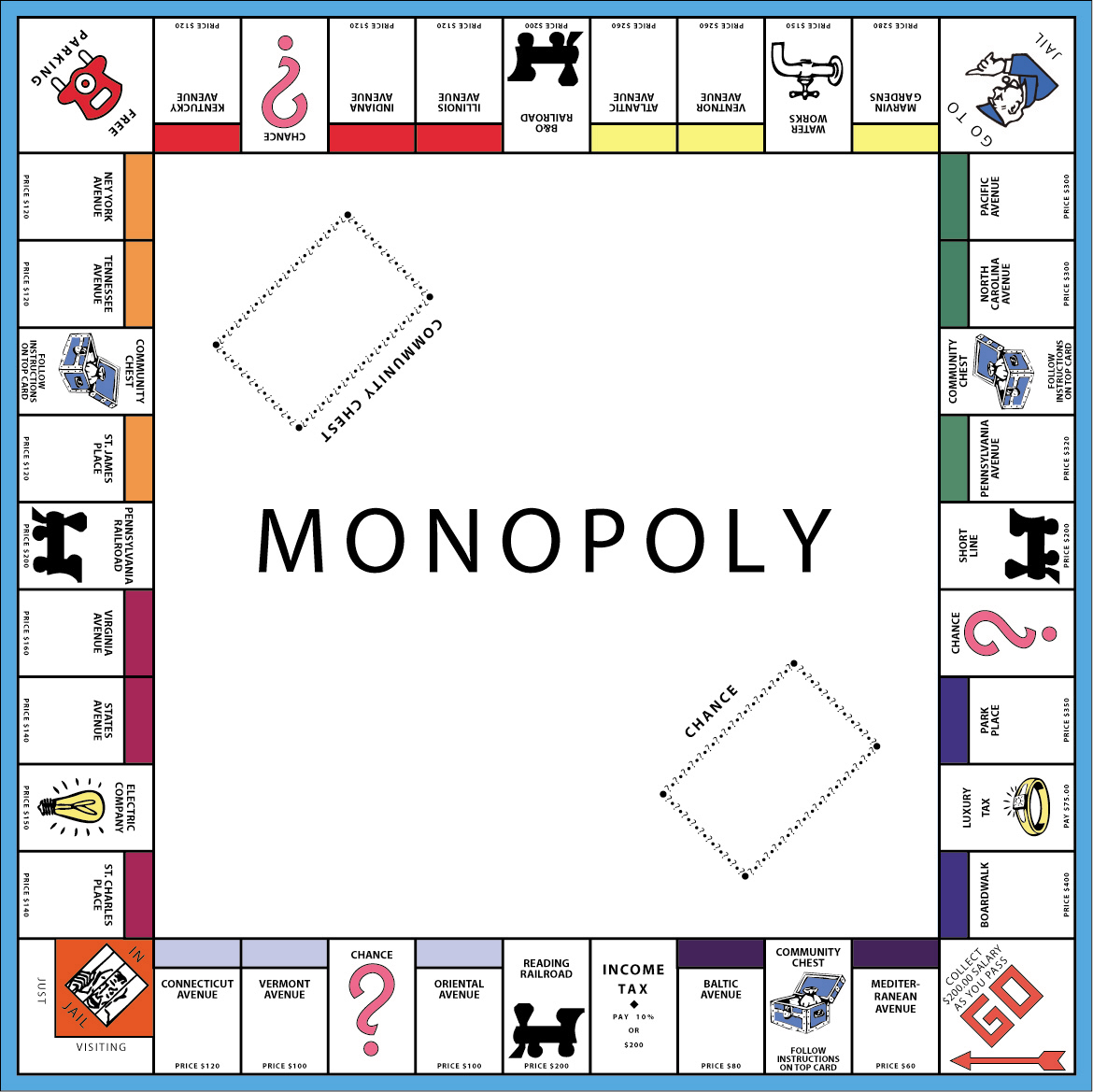 Monopoly game coloring pages
