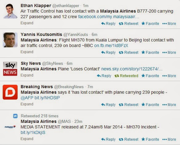 BREAKING NEWS MH370 LOST CONTACT