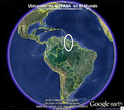 Ubicación de GUYANA en El Mundo. , Google Earth