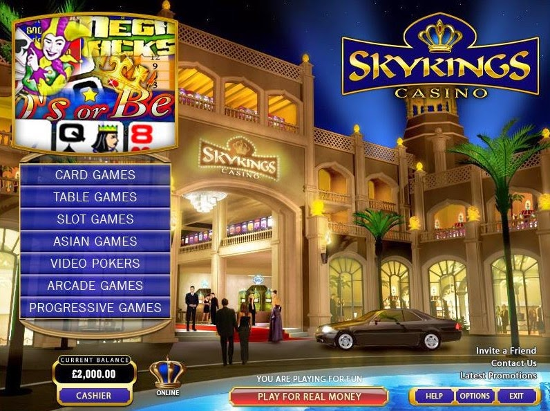 Skyking Casino Home Screen