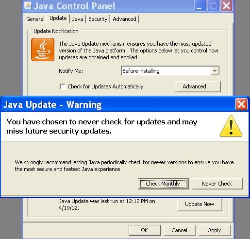 turn off java update notification windows 7