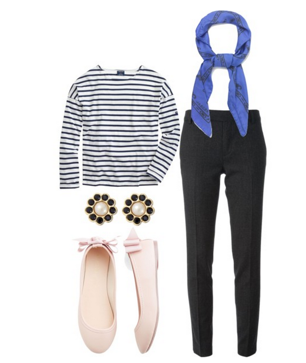 clothes, striped shirt, ballet flats,