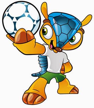 Mascote oficial da Copa do Mundo realizada no Brasil no anos de 2014. Tatu-Bola apelidado de Fuleco.