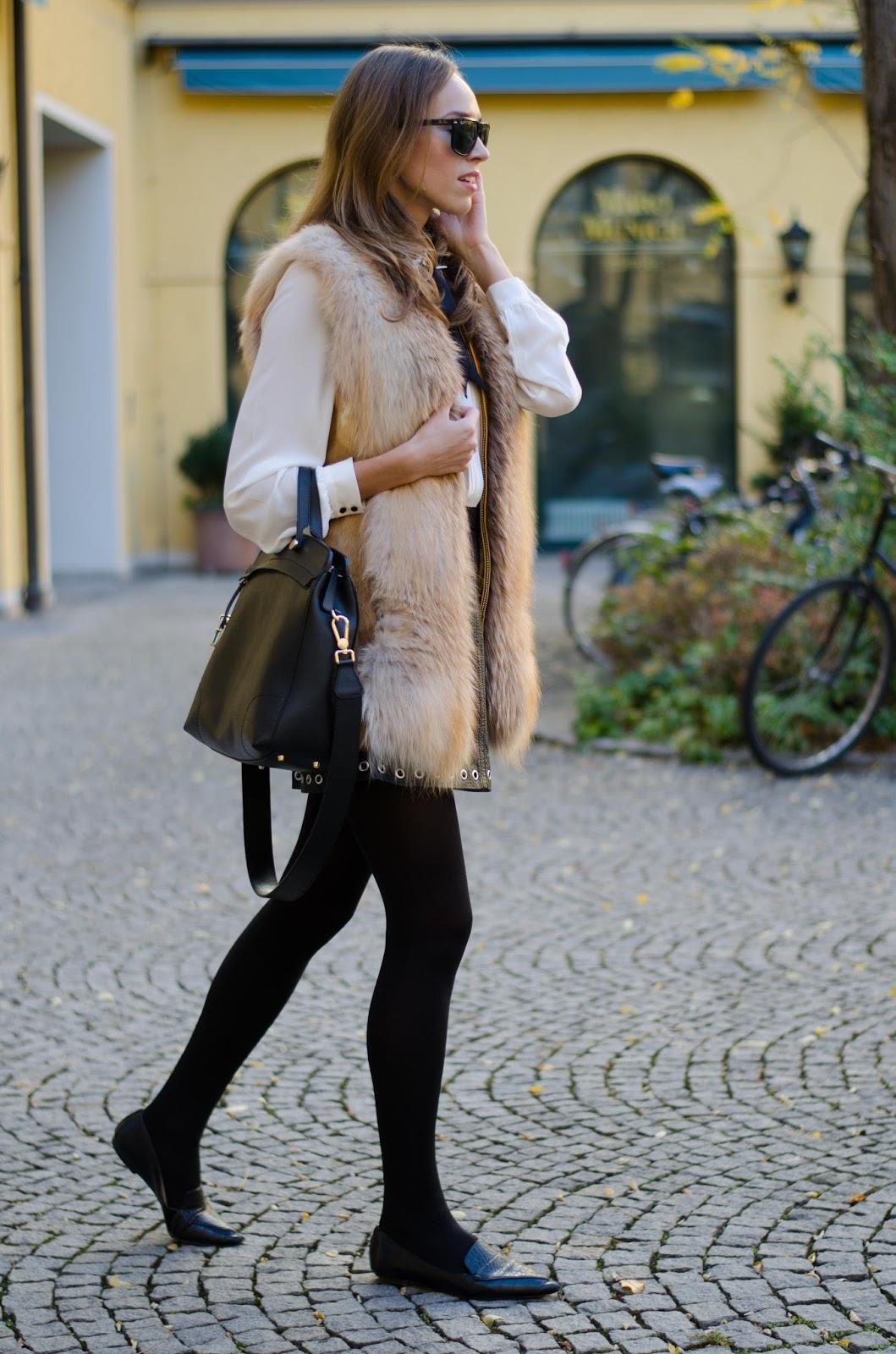 kristjaana mere fox fur vest leather skirt fall outfit fashion