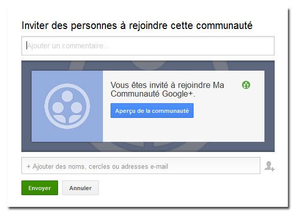 Inviter des personnes à rejoindre une communauté Google+