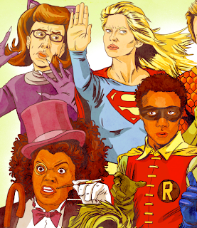 community tv show illustration dc comics batman wonder woman robin joker penguin flash aquaman super girl catwoman abel jeff winger annie edison chang childish gambino shirley troy barnes pierce dean britta