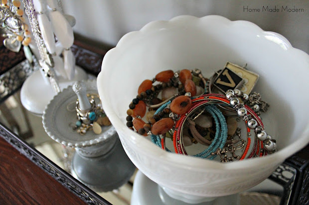 bracelets in a footed bowl