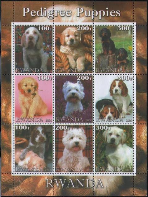 2000年ルワンダ共和国 ゴールデン・レトリーバー、ウェスティ、ビーグルなど子犬の切手シート