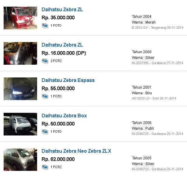 Harga mobil bekas daihatsu zebra tahun ini 2017