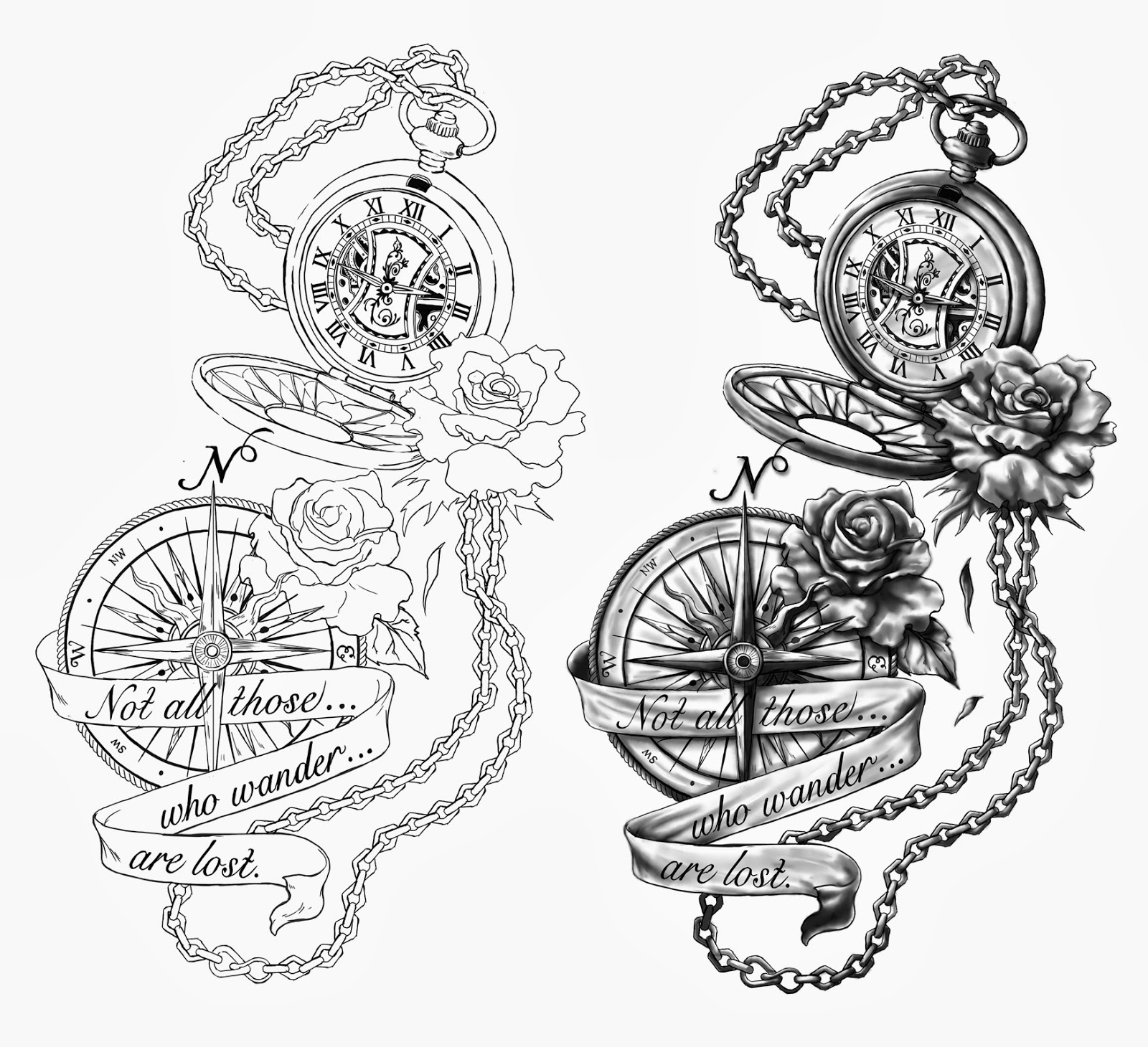 Gallery For gt Pocket Compass Tattoo Drawing