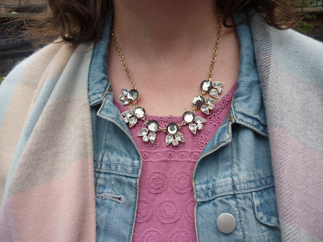 Denim Jacket, Embroidery Anglaise Top, Wrap, Grey & Opal Necklace | Petite Silver Vixen