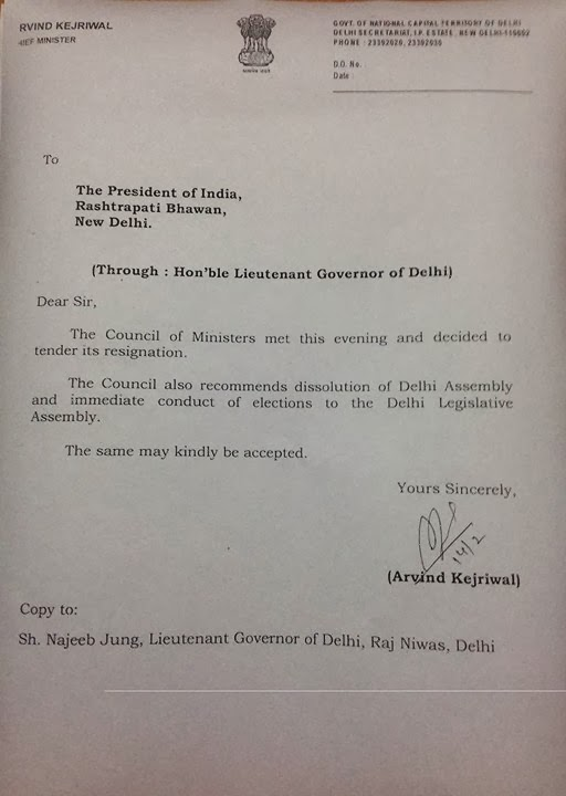 Resignation Letter to LG Najeeb Jun by Arvind Kejriwal