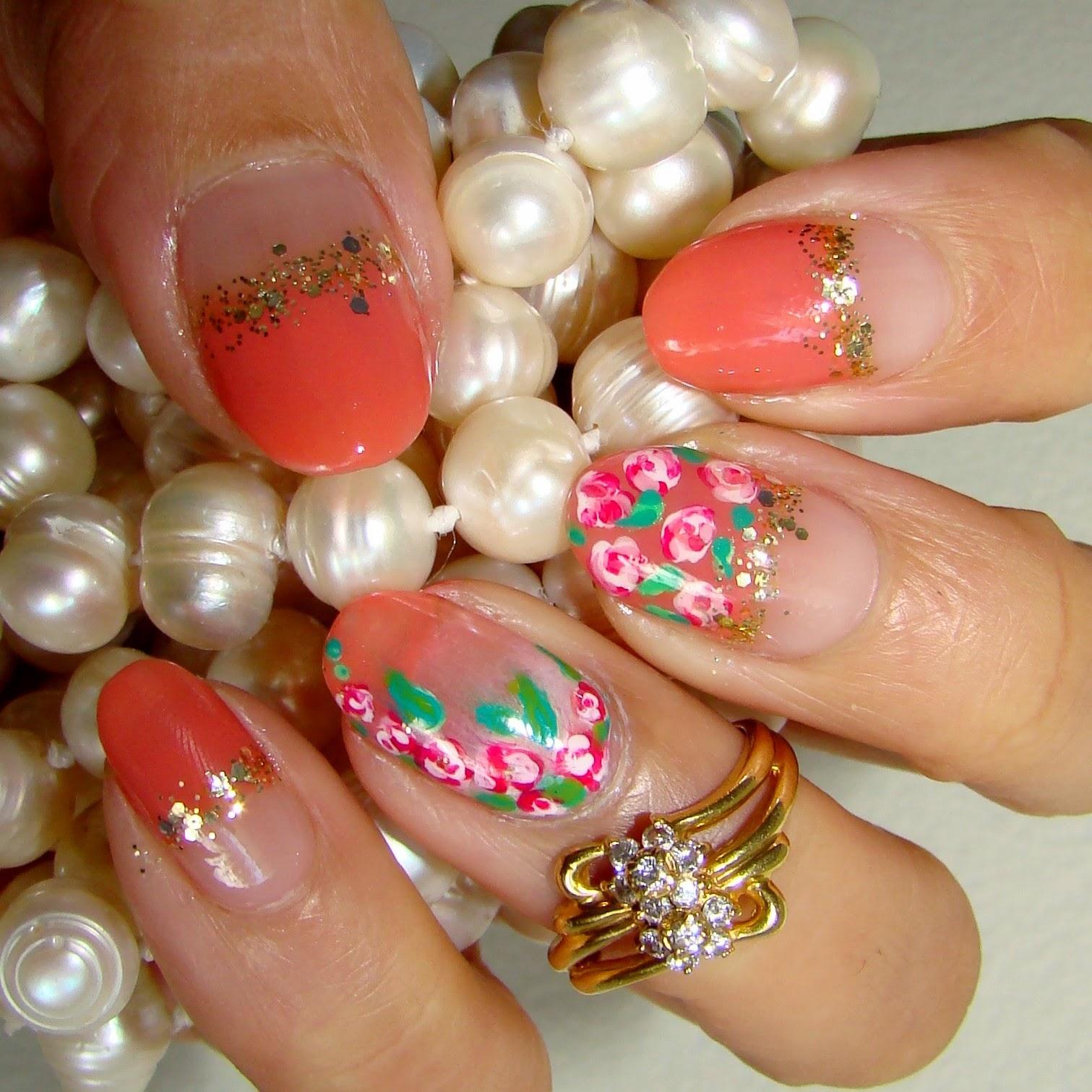 rosettes sally Hansen coral polish