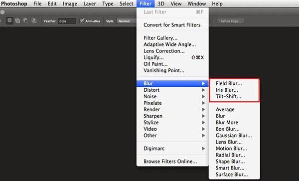 memberi efek fokus, blur tools, field blur, iris blur, tilt-shift blur,
