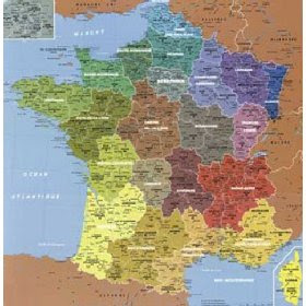 news tourism world: Carte de France Departement détaillée