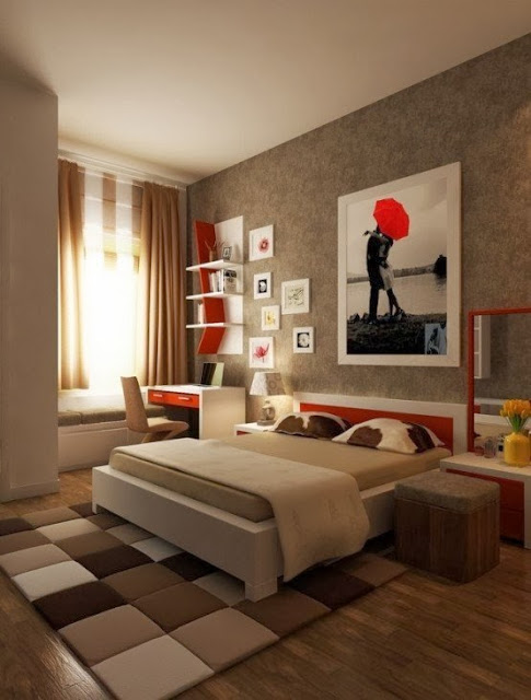 red bed headboard, red bedroom shelves, bedroom design ideas