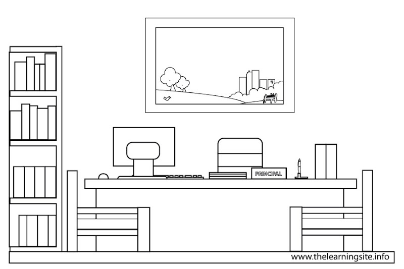 Parts Of A School Coloring Pages Science Laboratory Computer Room Title