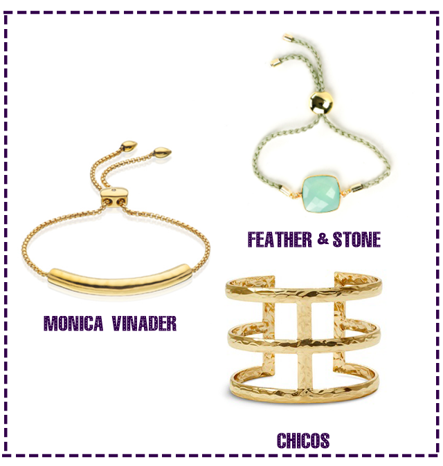 Gold Bracelets from Monica Vinader, Feather and Stone and Chicos.