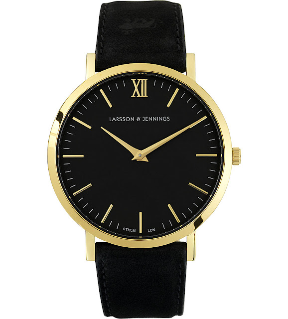 larsson & jennings lader watch, black face gold watch,