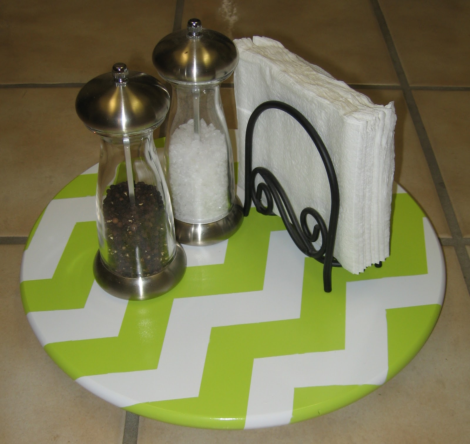 a kitchen table for two lazy susan makeover chevron