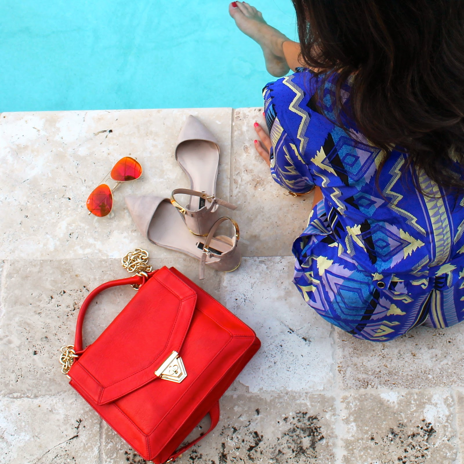 Sole Society Bag Yumi Kim Romper Zara Flats Ray Ban Sunglasses