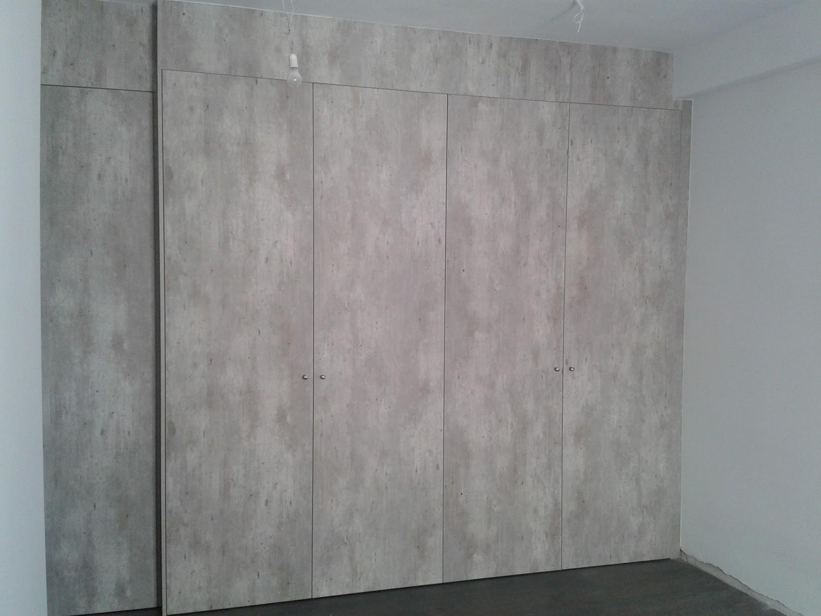 Frente de armario con puertas abatibles de color hormigon - Armarios con puertas abatibles ...