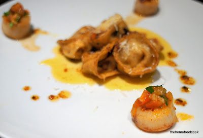 thehomefoodcook - ricotta tortellini with seared scallops and salsa