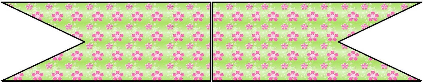 kit para festa flor verde e rosa