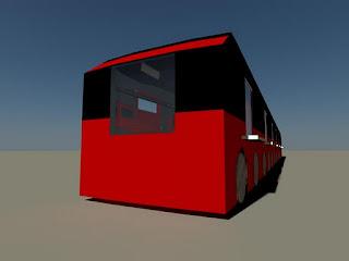 Trem modelado em 3D, por fora