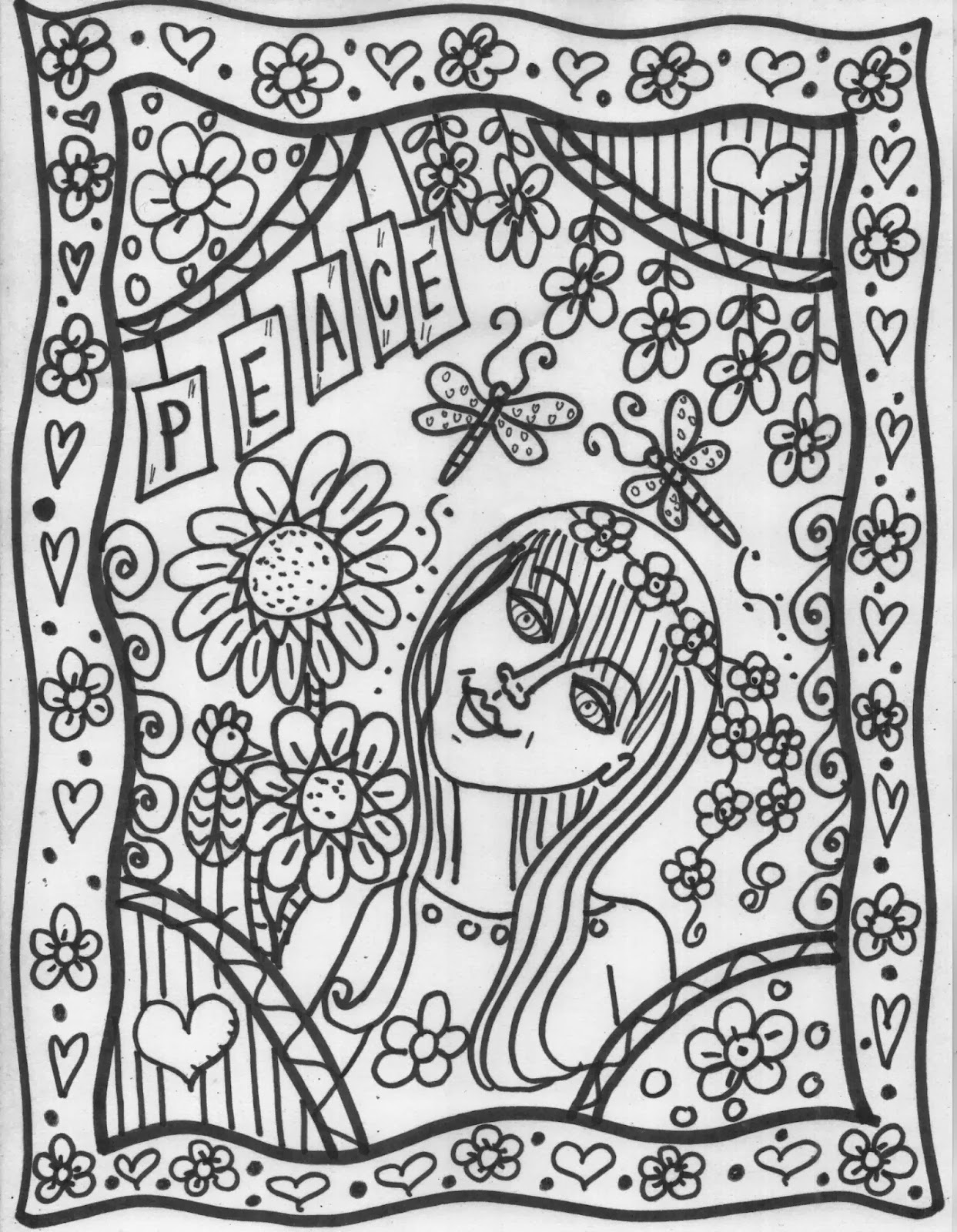 Build your own coloring book select pages go back to my for Hippie coloring book pages