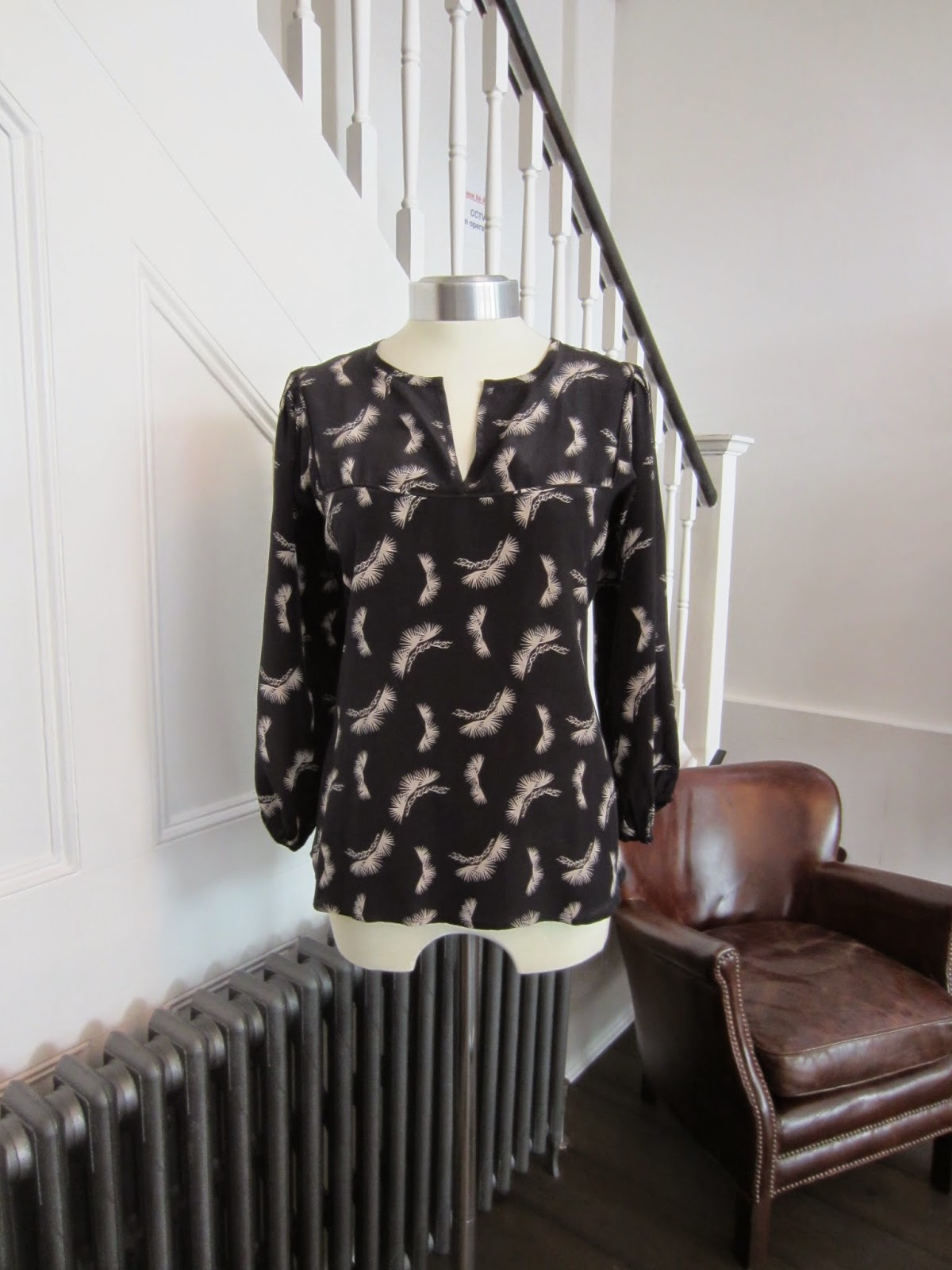 Tucker Black/Patterned Silk Top