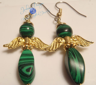 Gemstone angel earrings