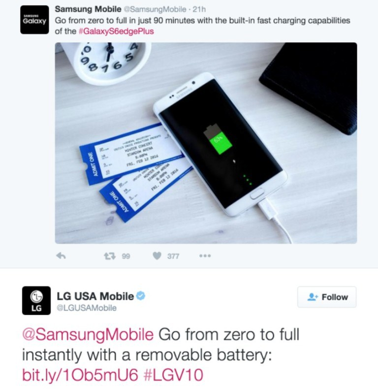 LG Makes Fun of Samsung on Twitter