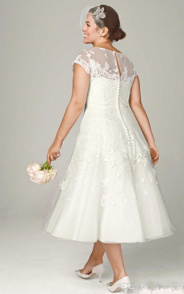 Tea length wedding dresses with sleeves plus size for Wedding dresses tea length with sleeves