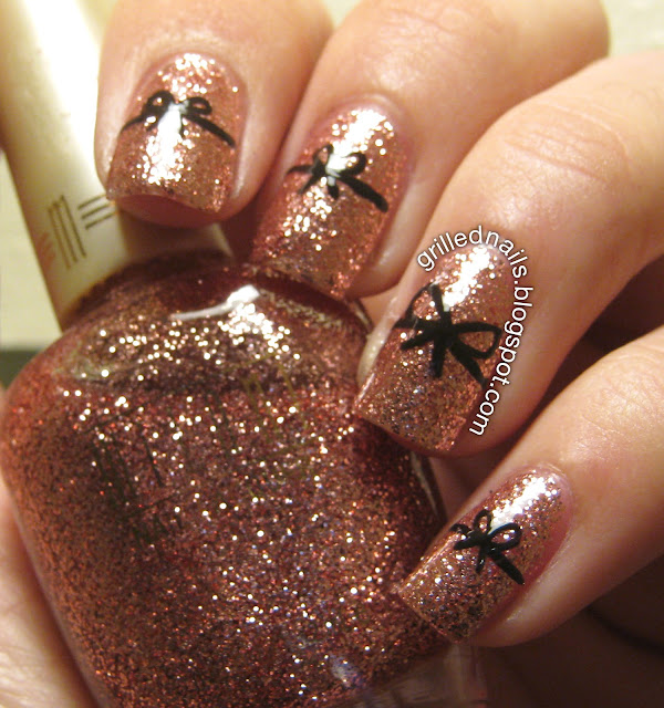 grillednails grilled nails blog hector alfaro bows february nail art pink glitter black milani