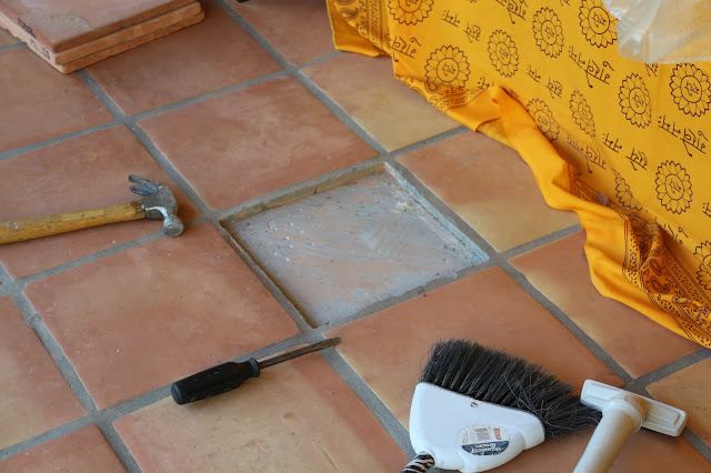 replacing a broken tile, diy broken tile