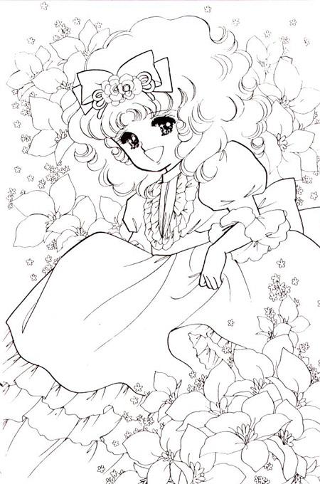 صورة بنت تضحك وسط الأزهار والورود لتلوين الاطفال