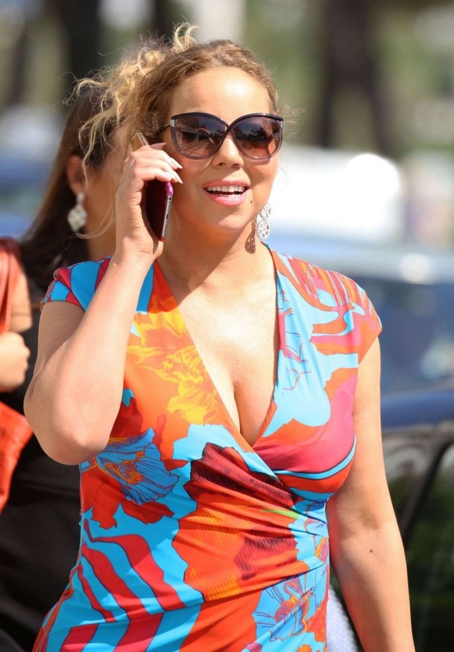 Mariah Carey bares cleavage out and about in Cannes