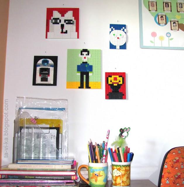 оформление детской комнаты картинами из lego