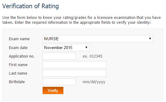 November 2015 NLE takers verification of ratings (VoR)
