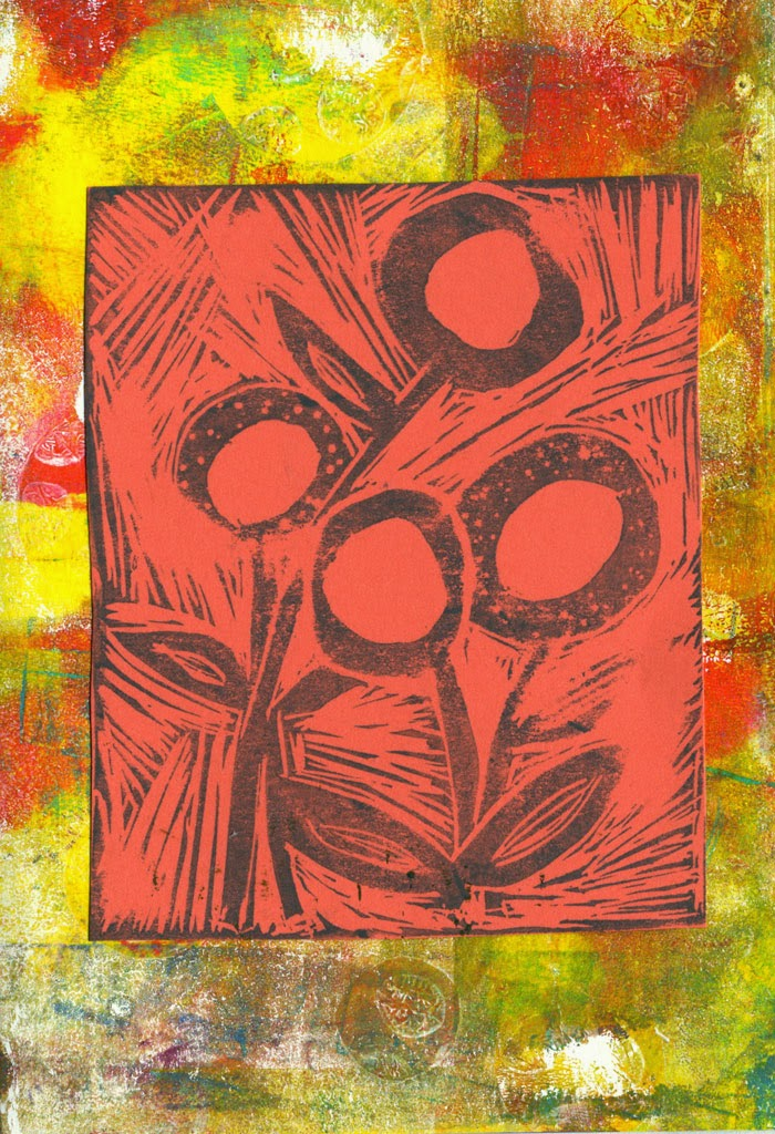 Gelli printed notecard