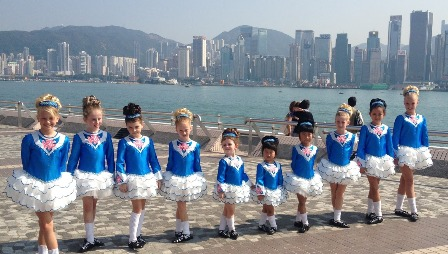 Irish dancers in along the Hong Kong skyline  Photo: courtesy Kathryn O'Connor-Barton