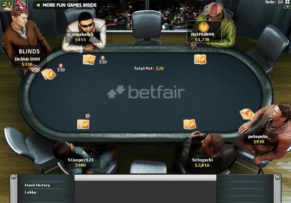 Betfair Poker Table Screen