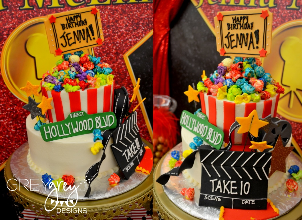 Greygrey designs my parties jenna 39 s red carpet hollywood birthday party - S party theme decorations ...