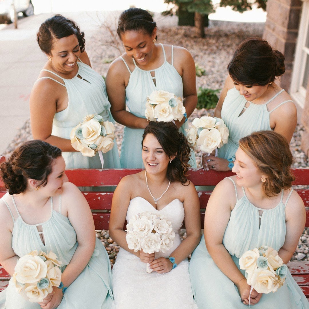 bridesmaid bouquets by Cherry Blossom Paperie, photography by Zane Mulligan